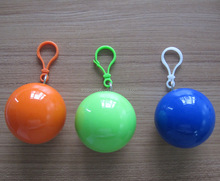 keychain Plastic Disposable Poncho Raincoat Ball for keyring promotion