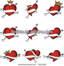 Heart shape & crown design body sticker skin tattoo
