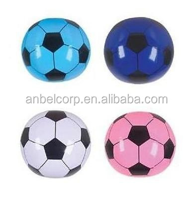 "NEW! 4 INFLATABLE SOCCER BEACH BALLS 16"" ASSORTED COLORS"
