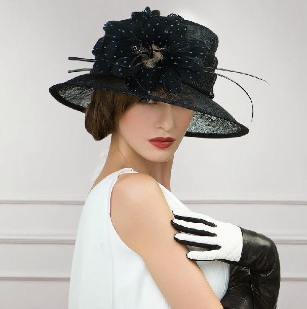 Newest design wedding dress hats with feather black church hats for sale