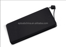 Unique and simple design built-in cable mobile phone power bank, super slim power