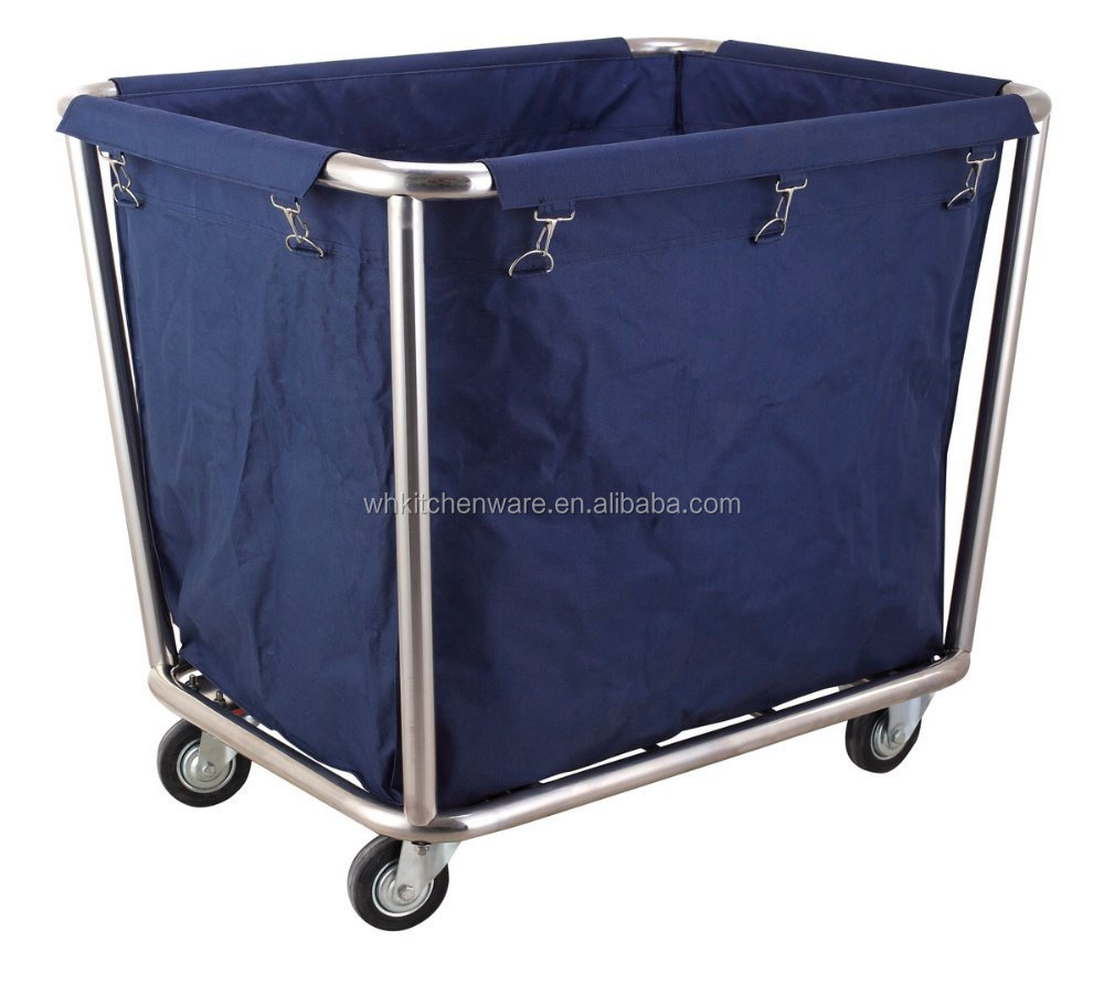 Round Stainless Steel Hotel Housekeeping Easy-assemble linen laundry trolley