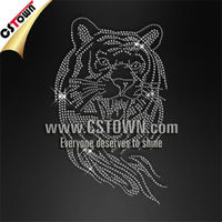 Iron on stone custom pattern rhinestone tiger
