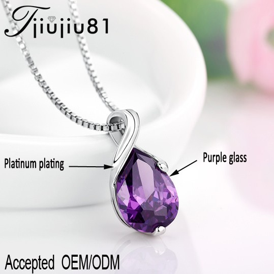 Fashion jewelry Copper Plated Platinum Purple crystal glass <strong>pendant</strong> and charms