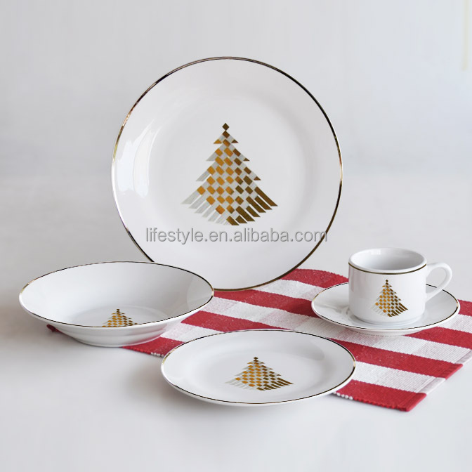 2017 Premium 16pcs dinner sets, porcelain with gold decal