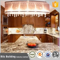Hotel solid wood kitchen cabinets with precut granite countertops