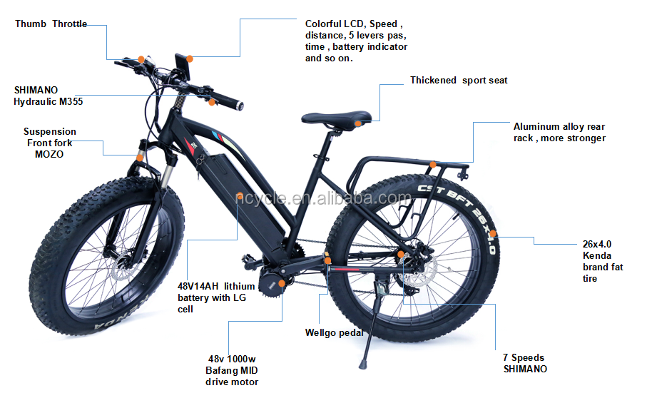 48V 1000w mid drive motor front suspension fat tire electric Bicycle with rear rack