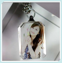 New Promotional Rectangle 3d Laser Photo Crystal Keychain Christmas Gifts for Girls&boys
