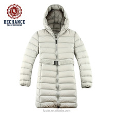 women's winter long goose down jacket with waist belt