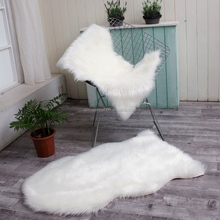 High quality oval white faux fur shaggy sheepskin area rug throw blanket for Home