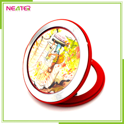 round shape with customed design plastic mirror