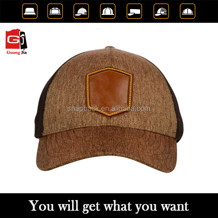 Custom men leather patch solid mesh blank snapback, plain trucker cap made in China