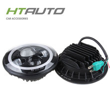 HTAUTO 7'' Round Headlight with Angel Eyes 40w High Low Beam Car Led Headlight,7inch LED Xenon Lamp