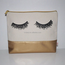 Custom canvas zipper makeup cosmetic bag toilet pouch cheap makeup bag with eyelash design