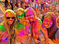 Happy Holi spring festival of colors With colorful Holi powder paint