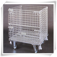 Folded storage metal cage for galvanized or PVC coated iron wire materials