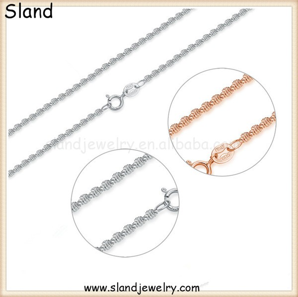 2016 New trendy Italy Cauliflower design 925 sterling silver twisted chains - pure silver chain necklace with spring ring clasp