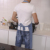 Custom made adjustable washing bib jeans denim kitchen cooking baker chef apron with pockets for men and women