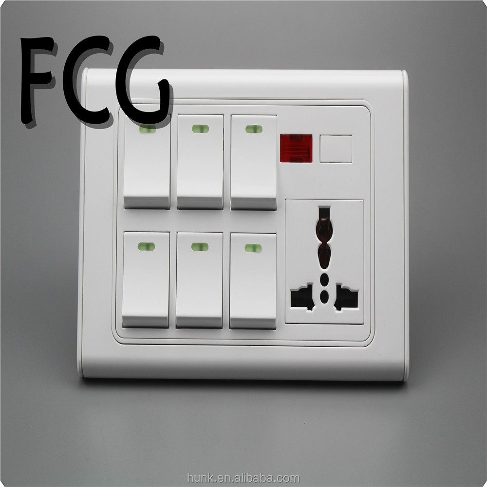 Manufacturer Luxury White pc light switch 6 gang and 3 pin socket with indicator dimmer provision