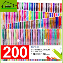 Promotional easy use 200 color gel pen set 100 Coloring Pens and 100 Ink Refills