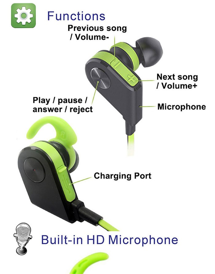 Bluetooth V4.1 Magnet Circle Earbuds, Headset Wireless Sports Sweatproof Headphone