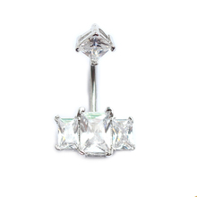 316l stainless steel navel ring prong set cubic cz / zirconia jewelry