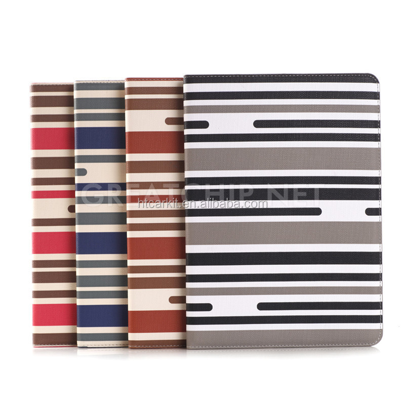 Ultra slim Table PC stripe leather PU case with card slots sleeping smart cover for IPAD pro