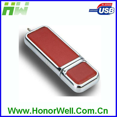 Good Quality Promotional Noble Gift 8GB 16GB Leather and Metal OEM UBS Flash Drive with Free Logo
