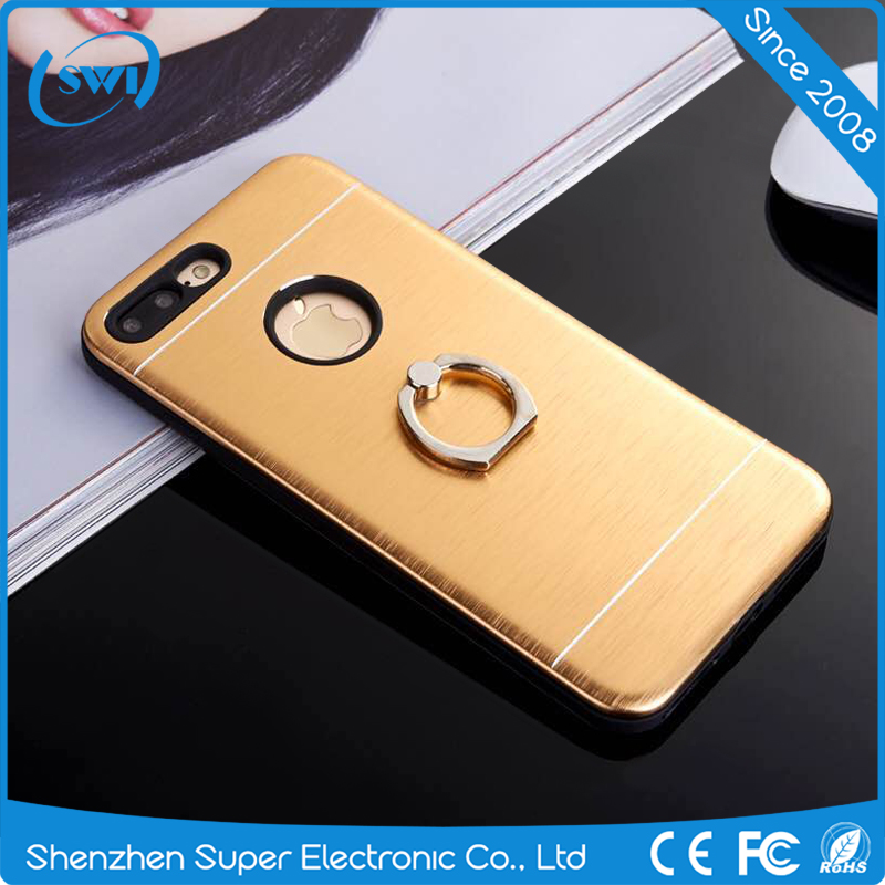 "2017 Hot Selling Brushed Metal Aluminum+TPU Armor Phone Cover Case With Ring Stand 4.7""/5.5"" For iPhone 6/6S/7 Plus Back Case"