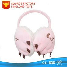 Shenzhen Manufacture Embroidery Logo Ear Cover Pink Animal Fur Earflap Holiday Celebration Bear Ear Muffs