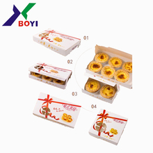 China Factory Price rectangle decorative food egg tart cupcake sweet cookie paper cardboard waffle packaging box
