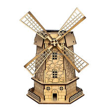 Pixnor Cool Funny DIY Assembly Colored Painting Solar Powered Rotating 3D Wooden Holland Windmill Building Model Educational Toy