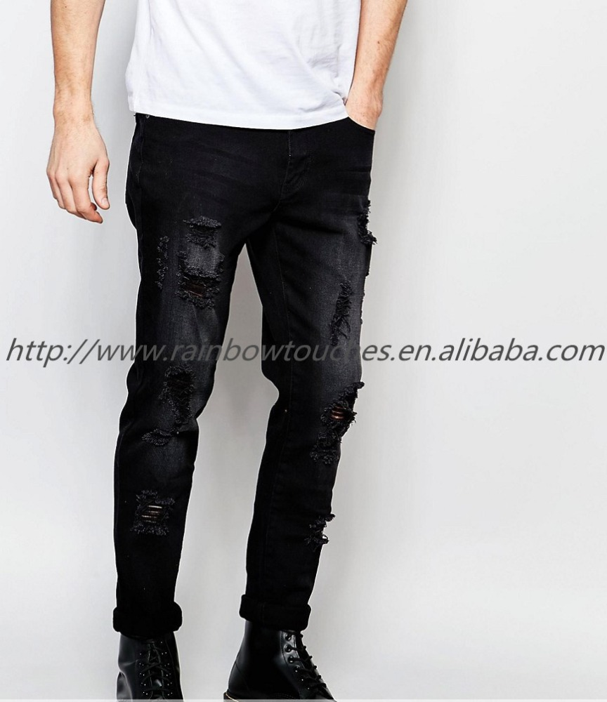Factory China Wholesales Stretch Denim distresseed Skinny Jeans In Black