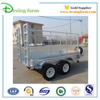 Hot dip galvanized 4 wheel farm tipping trailer for sale