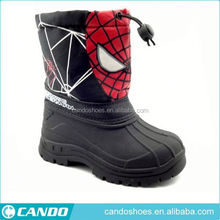 bulk wholesale spider boy printed kids shoes boot, fur lining warm children's snow boots