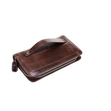China Factory Wholesale Large Capacity Vintage Purse Clutch Business Mens Wallets Leather Money Clip Bags