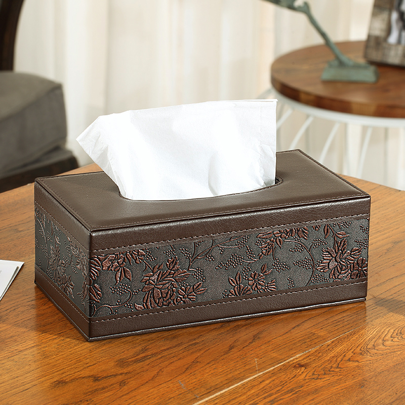Retro Classic leather rectangular facial tissue box