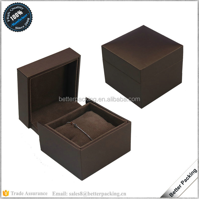 PU Leather Covered Velvet Cushion Inlay Baby Bangle Jewelry Gift Box