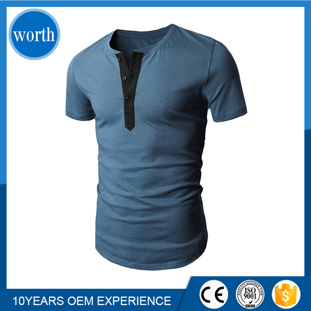Mens Henley Shirt Casual Slim Fit Short Sleeve