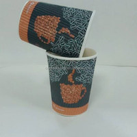 hot sale disposable double wall coffe ripple paper cup/corrugated hot drink coffee/customized print logo