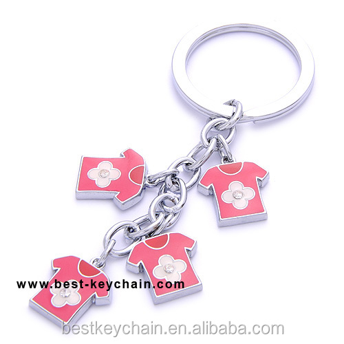 Metal pink T-Shirt shaped charm keychain (BK11119)