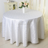 132'white polyester damask round table covers for weddings
