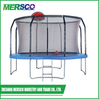 Round Big Professional Outdoor Trampoline With Basketball Hoop And Safety Net Enclosures