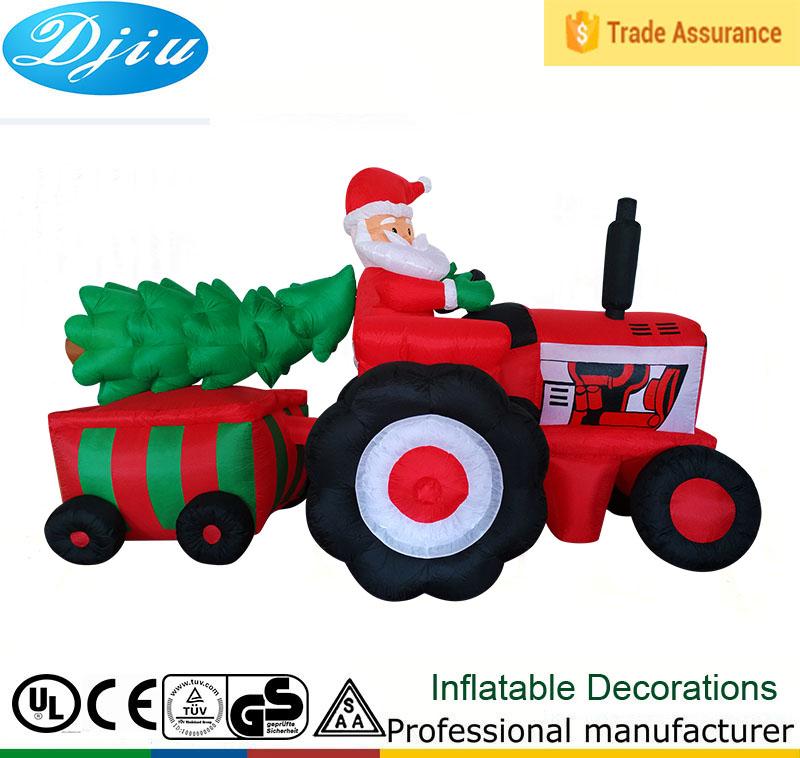 DJ 533 Merry Christmas Tree Santa Claus Tractor Inflatable Decor Outdoor