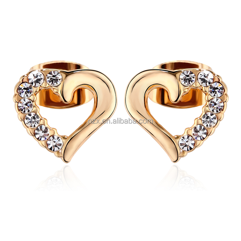 OUXI 2015 Latest sweet heart shaped earring stud 20452