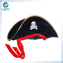 Wholesale custon adult cheap halloween party caribbean flannelette pirates hat