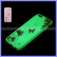 Flashing Light UP Cell Phone Cases Luminous Spring Classical Flower Butterfly Case for iPhone 6 6S 5 Plus