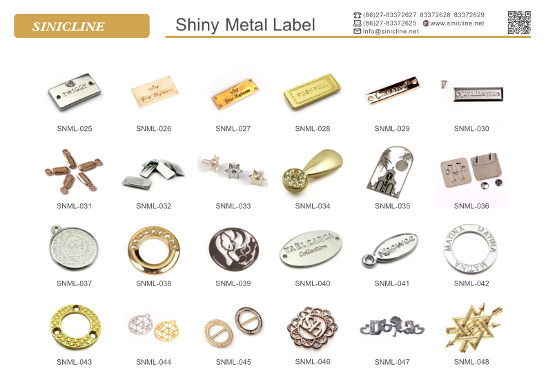 Sinicline metal logo label custom metal tag for clothing