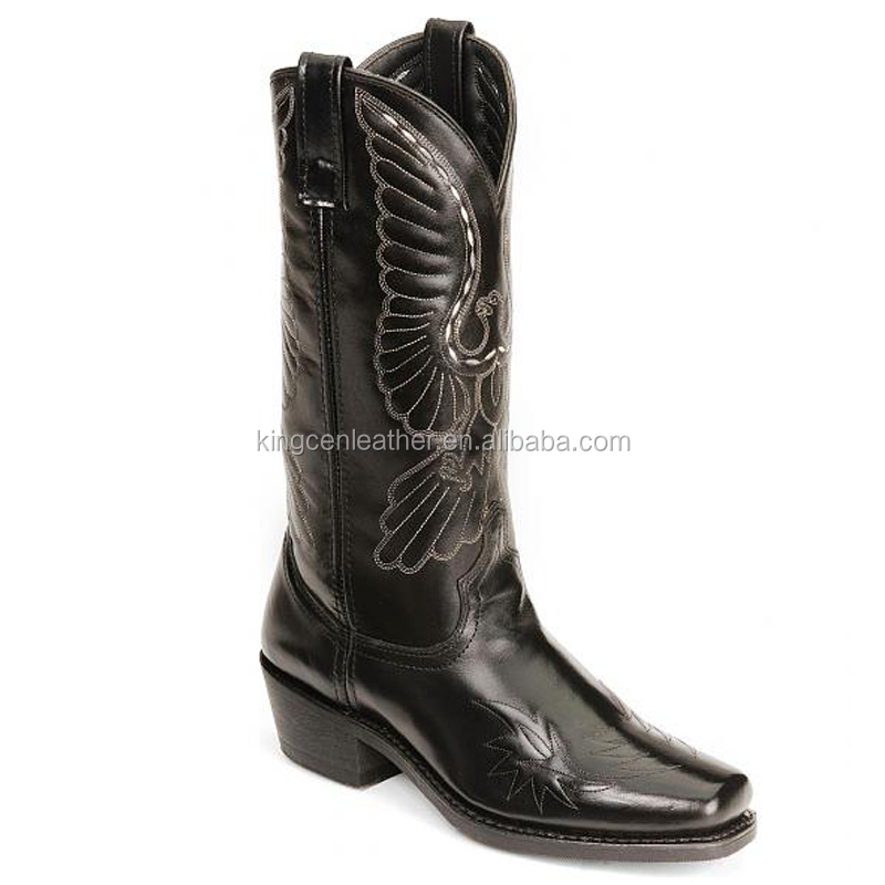 black genuine leather cowboy&cowgirl western eagle stitch boots wholesale