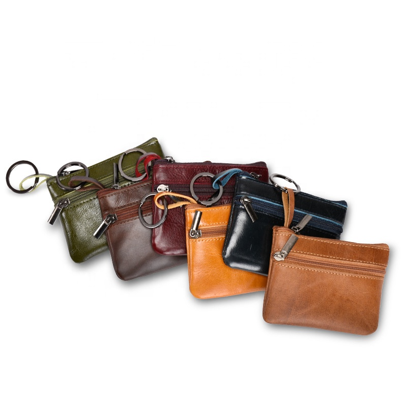 Wholesale genuine leather zipper pouch mini coin purse keychain